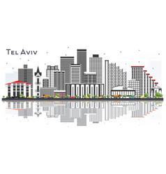 tel aviv israel city skyline with gray buildings vector image