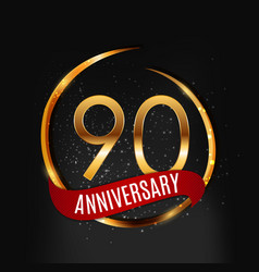 Template gold logo 90 years anniversary with red vector