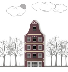 The original house on a white paper background vector