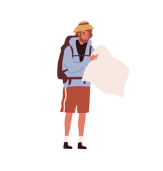 tourist traveling with backpack hiker looking vector image