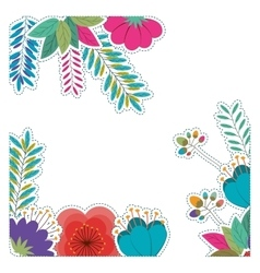 Tropical flowers and leaves design vector image