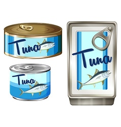 Tuna fish in three different packages vector
