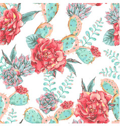 Vintage seamless pattern with blooming flowers vector