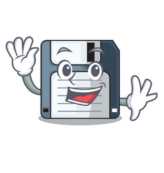 Waving floppy disk isolated with a mascot vector