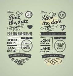 wedding stamps green yellow vector image
