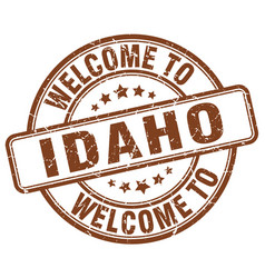 Welcome to idaho brown round vintage stamp vector