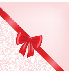 white guipure border with ribbon bow vector image