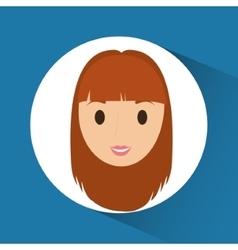 Woman cartoon inside circle design vector