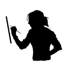 Woman painter paints a picture silhouette vector