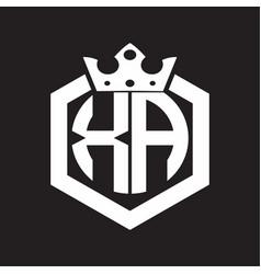 Xa logo monogram rounded hexagon shape vector