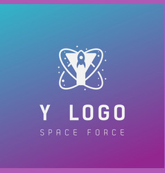 Y initial space force logo design galaxy rocket vector
