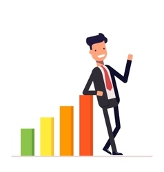 Businessman or manager stands by positive earnings vector image vector image
