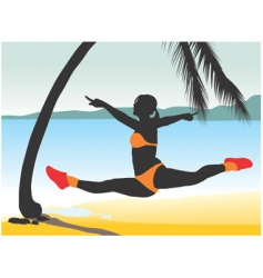 girl jumping vector image vector image