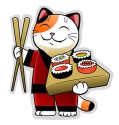 Sushi cat vector image