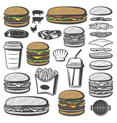 vintage burger elements set vector image vector image