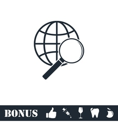 Analyzing world icon flat vector image vector image