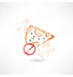 ban slice of pizza grunge icon vector image vector image
