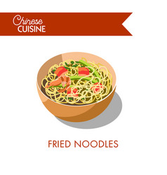 fried noodles in bowl isolated on white background vector image vector image