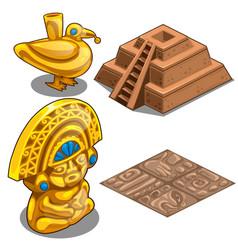 golden maya objects flooring and pyramid model vector image