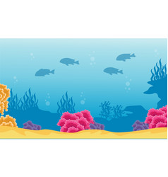 Landscape of coral reef and fish silhouettes vector