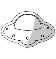 ufo spaceship fly image outline vector image