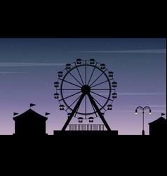 art of amusement park scenery silhouette vector image vector image