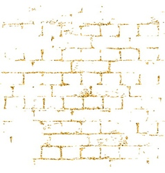Brick wall gold texture pattern white vector image vector image