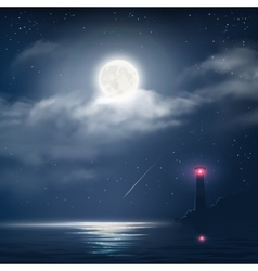 night cloudy sky with stars and moon vector image