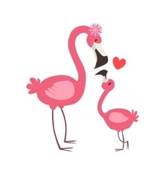 Pink Flamingo Mom With Flower Animal Parent And vector image