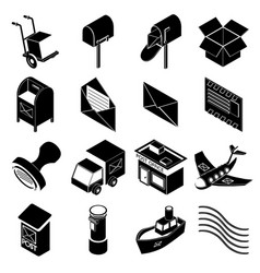 poste service icons set simple style vector image vector image