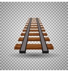 Railway tracks or rail road line on transparent vector