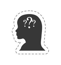 silhouette female head question mark vector image
