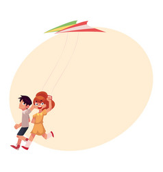 two friends boy and girl running together with vector image vector image