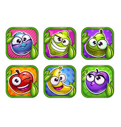 bright cartoon app icons with funny fruits and vector image vector image