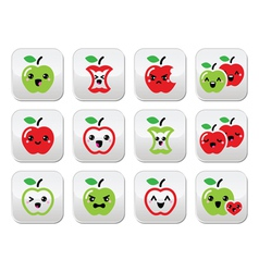 Cute red apple and green apple kawaii buttons set vector image