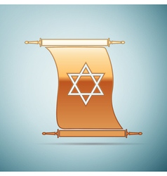 Gold Star of David on scroll icon for blue vector image
