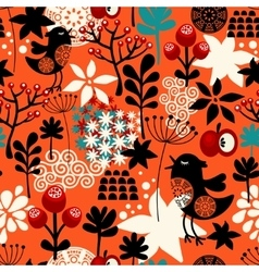 Orange seamless pattern with cute singing birds vector image