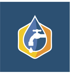 plumbing logo with faucet and water vector image