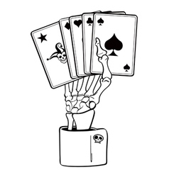 skeleton hand with cards vector image vector image