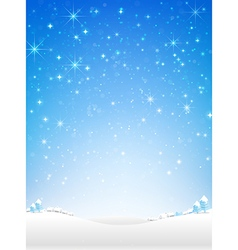 Star night and snow fall bakcground vector image