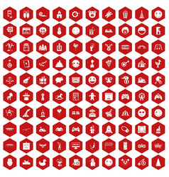 100 funny icons hexagon red vector