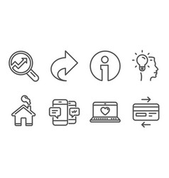 Analytics share and smartphone sms icons idea vector