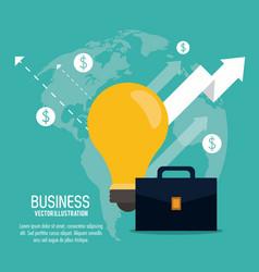 Arrow growth bulb suitcase business icon vector