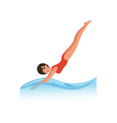 Beautiful woman in red swimsuit diving into the vector