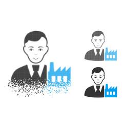 Broken pixel halftone capitalist oligarch icon vector