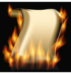 Burning paper scroll vector