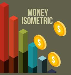 business financial statistics bar coins money vector image