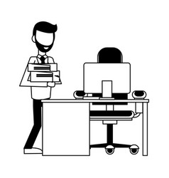 businessman at office in black and white vector image
