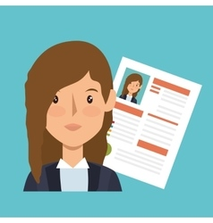 Businesswoman character avatar with cv icon vector