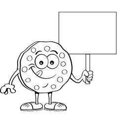 cartoon cookie holding a sign vector image